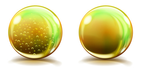 Two big yellow glass spheres with air bubbles and without, and with glares and shadows. Transparency only in vector file