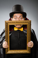 Funny man with picture frame
