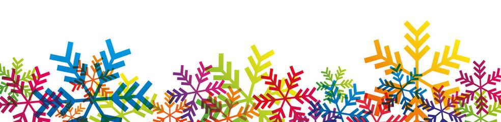 Bannière flocons multicolores