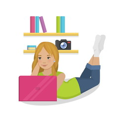Flat vector illustration of a cute teenager girl laying in her room with a pink fuchsia laptop wearing casual outfit and socks, blogging, relaxing and communicating online.