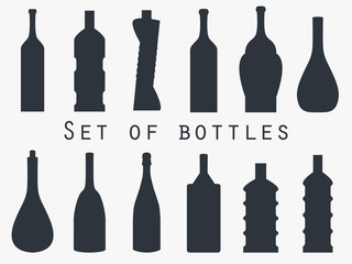 Bottle of water. Set of bottles of different shapes. Vector illustration.