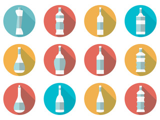 Bottle. Bottle of water. Flat icon with long shadow on white background. Vector illustration.