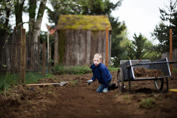 Young boy working in the garden