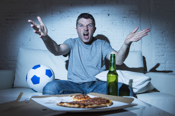 angry football fan ball and beer bottle watching tv soccer screaming upset