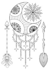 Bohemian Moon and Sun with Arrows. Hand drawn Zentangle Moon, Su