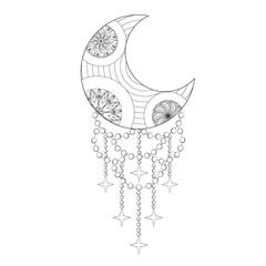 Bohemian Moon, Hand drawn Zentangle artistic Moon for adult anti