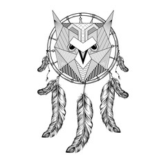 Hand drawn zentangle Owl Bird on Dream catcher with feathers for