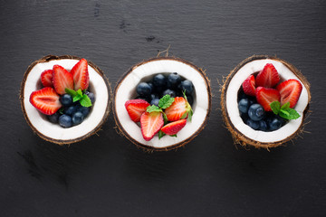 Fruit salad in coconut