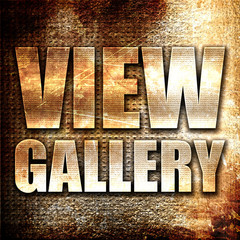 view gallery, 3D rendering, metal text on rust background