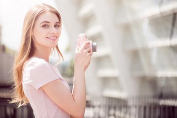 Modern young woman using technologies