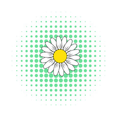 Camomille flower icon, comics style