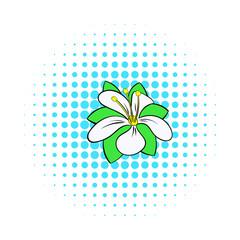 Orange flower icon, comics style