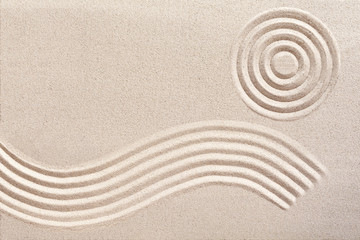 Obraz Wave and circles in a Japanese zen garden - fototapety do salonu