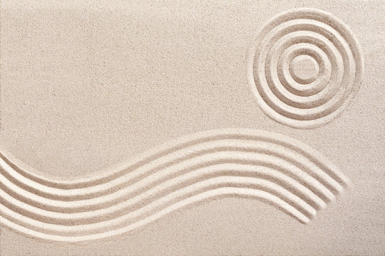 Wave and circles in a Japanese zen garden