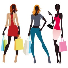 bags and colorful silhouettes of women