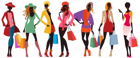 bags female silhouettes, colorful