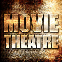 movie theatre, 3D rendering, metal text on rust background