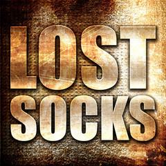 lost socks, 3D rendering, metal text on rust background