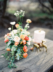 Wooden table with fresh flowers