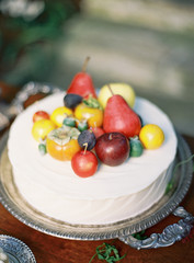 Cake with fresh fruit decorations