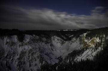 Yellowstone waterfall snow covered mountain