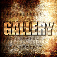 gallery, 3D rendering, metal text on rust background