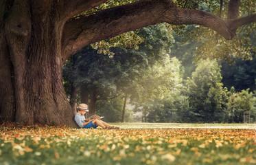Little boy reading a book under big linden tree