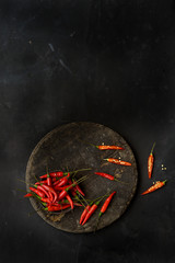 Fresh red chillies, overhead view