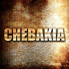 chebakia, 3D rendering, metal text on rust background