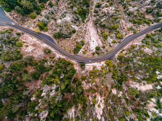 Aerial view of cars on road through mountains