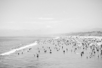 Crowd of people on beach, black and white