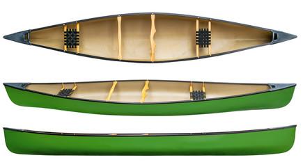 green tandem canoe isolated