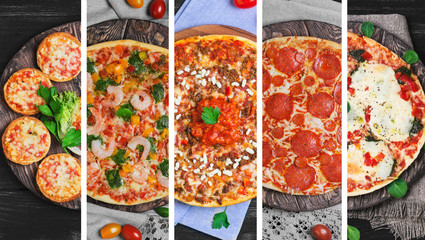 collage with five different types of pizza