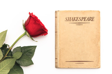 An old book by Shakespeare and a red rose sit on a white background