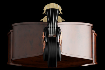 Contrabass. Isolated on black background.
