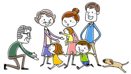 イラスト素材:楽しい家族 風景