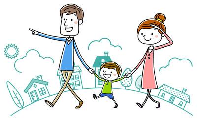 イラスト素材:親子 散歩