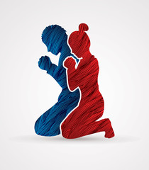 Man and Woman pray together designed using grunge brush graphic vector