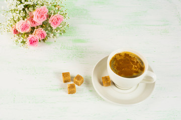 Romantic morning coffee with roses