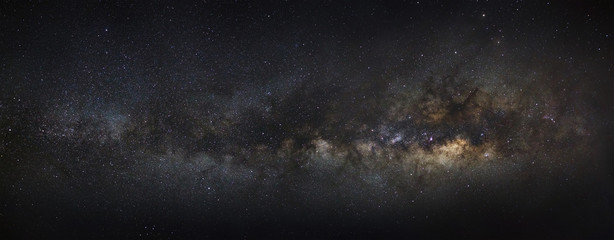 The Panorama milky way galaxy.Long exposure photograph.with grai