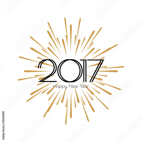 2017 happy new year beautiful modern greeting card black text word gold fireworks invitation