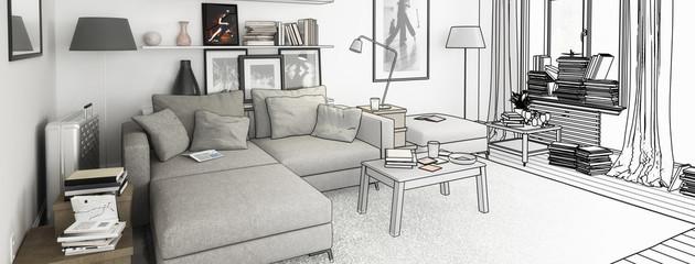 Bücher im Wohnzimmer, Einrichtung und Dekoration (Entwurf, pano