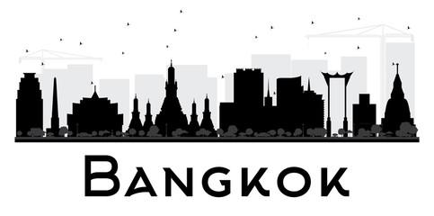 Bangkok City skyline black and white silhouette.