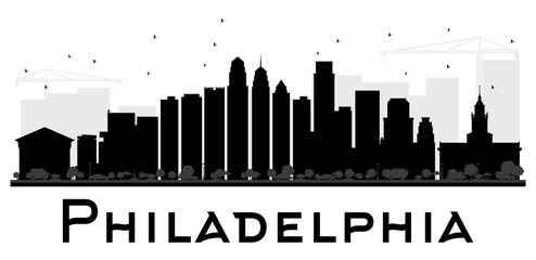 Philadelphia City skyline black and white silhouette.