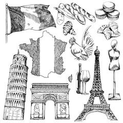 France sketch elements.