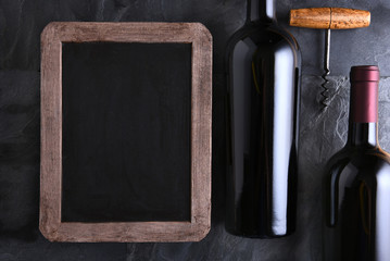 Chalk Board and Wine Bottles