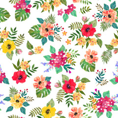 Seamless floral pattern with colorful flowers and leaves.