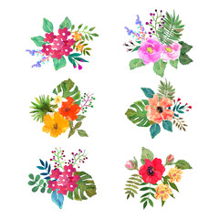 Set of colorful flowers. Design for cards, invitations, banners.
