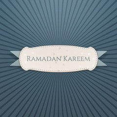 Ramadan Kareem Banner with greeting Ribbon
