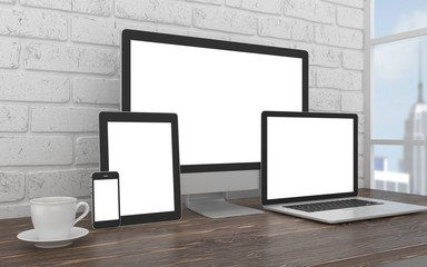 Responsive mockup screen. Monitor, laptop, tablet, phone on table in office. 3d rendering.